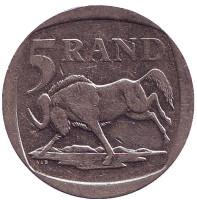 Антилопа гну. Монета 5 рандов. 2001 год, ЮАР.
