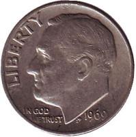 Рузвельт. Монета 10 центов. 1969 (P) год, США.
