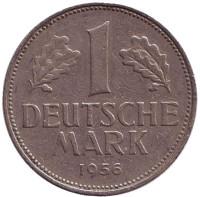 Монета 1 марка. 1956 год (F), ФРГ.