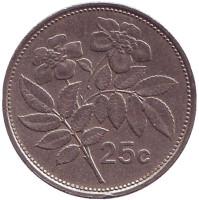 Цветы. Монета 25 центов. 1993 год, Мальта.