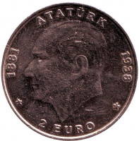 Курс лиры к евро. 500 000 Лир = 2 Евро. Монета 500000 лир.1998 год, Турция.