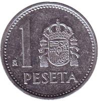 Монета 1 песета. 1989 год, Испания. (Старый тип)