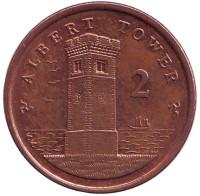 Башня Альберта. Монета 2 пенса. 2009 год, Остров Мэн.