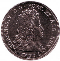 Песа 1722 года короля Жуана V, Нумизматические сокровища Португалии. Монета 5 евро, 2012 год, Португалия.