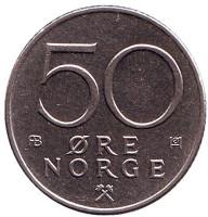 Монета 50 эре. 1975 год, Норвегия.