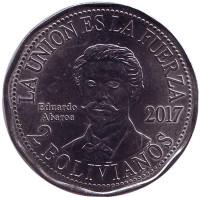 Эдуардо Абароа. Монета 2 боливиано. 2017 год, Боливия.