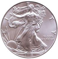 Шагающая свобода. Монета 1 доллар, 2018 год, США.