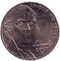 Монтичелло. Монета 5 центов. 2017 год (P), США.