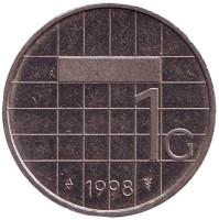 Монета 1 гульден. 1998 год, Нидерланды.