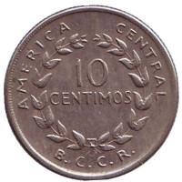 Монета 10 сантимов. 1969 год, Коста-Рика.
