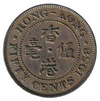 Монета 50 центов. 1958 год, Гонконг.