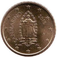 Монета 50 центов. 2018 год, Сан-Марино.