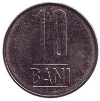 Монета 10 бани. 2013 год, Румыния. UNC.