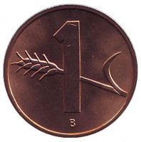 Монета 1 раппен. 1969 год, Швейцария. UNC.