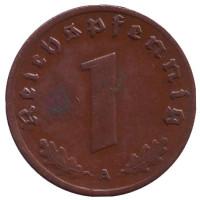 Монета 1 рейхспфенниг. 1936 год (A), Третий Рейх (Германия).
