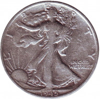 Шагающая свобода. Монета 50 центов. 1945 год (S), США.