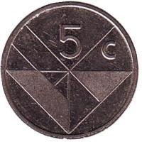 Монета 5 центов. 1990 год, Аруба.