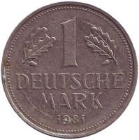 Монета 1 марка. 1981 год (J), ФРГ. Из обращения.