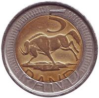 Антилопа гну. Монета 5 рандов. 2004 год, ЮАР.