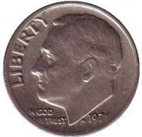 Рузвельт. Монета 10 центов. 1971 (P) год, США.
