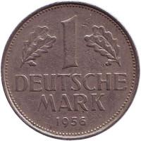 Монета 1 марка. 1956 год (G), ФРГ.