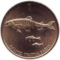 Ручьевая форель. Монета 1 толар. 1999 год, Словения. UNC.