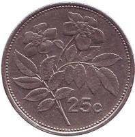 Цветы. Монета 25 центов. 1995 год, Мальта.