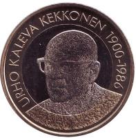 Урхо Калева Кекконен. Президенты Финляндии. Монета 5 евро. 2017 год, Финляндия.