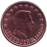 Монета 1 цент. 2007 год, Люксембург.