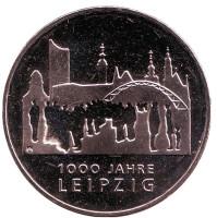 1000 лет городу Лейпциг. Монета 10 евро. 2015 год, Германия.