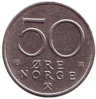 Монета 50 эре. 1977 год, Норвегия.