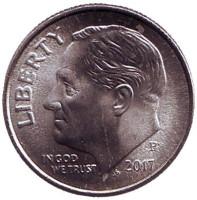 Рузвельт. Монета 10 центов. 2017 (P) год, США.