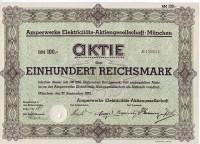 Электроэнергетическое акционерное общество. Акция 100 рейхсмарок. Мюнхен, 1932 год, Веймарская республика.