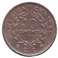 Монета 10 сантимов. 1972 год, Коста-Рика.