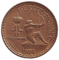 Монако 2 франка. 1926 год, Монако.