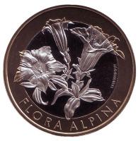 Горечавка альпийская. Флора Альп. Монета 10 франков. 2017 год, Швейцария.