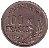 100 франков. 1955 год, Франция.
