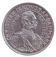 40 лет правления. Король Кристиан IX. Монета 2 кроны. 1903 год, Дания.