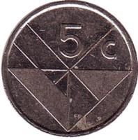 Монета 5 центов. 1991 год, Аруба.