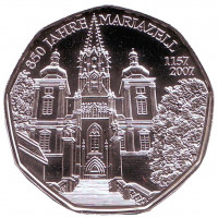 850 лет городу Мариацелль. Монета 5 евро. 2007 год, Австрия.