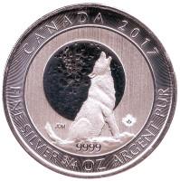 Серый волк. Вой волков. Монета 2 доллара. 2017 год, Канада.