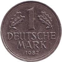 Монета 1 марка. 1982 год (F), ФРГ. Из обращения.