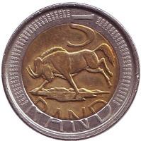 Антилопа гну. Монета 5 рандов. 2005 год, ЮАР.