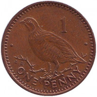 Берберская куропатка. Монета 1 пенни, 1995 год, Гибралтар. (AA). Немагнитная.