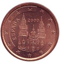 Монета 1 цент, 2000 год, Испания.