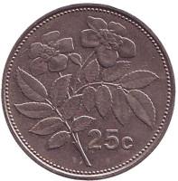 Цветы. Монета 25 центов. 1998 год, Мальта.