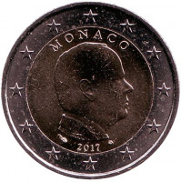 Князь Альберт II. Монета 2 евро. 2017 год, Монако.
