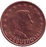 Монета 2 цента. 2007 год, Люксембург.