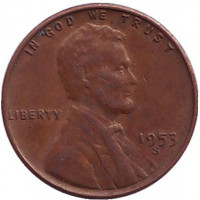 Линкольн. Монета 1 цент. 1953 год (S), США. Брак. Раскол.