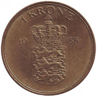 Монета 1 крона. 1955 год, Дания.